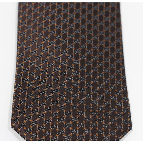 Gucci Mens Interlocking Gg Woven Silk Tie Brown