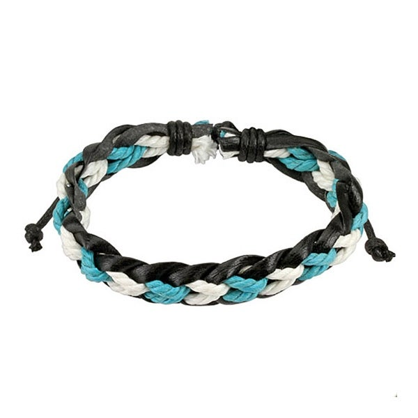 Black Leather Bracelet with Blue and White Braided Strings Center (12 mm) - 7.5 in