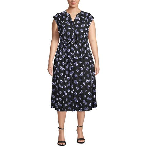 Anne Klein Womens Plus Midi Dress Floral A-Line - Anne Black/Rainshawdow Combo