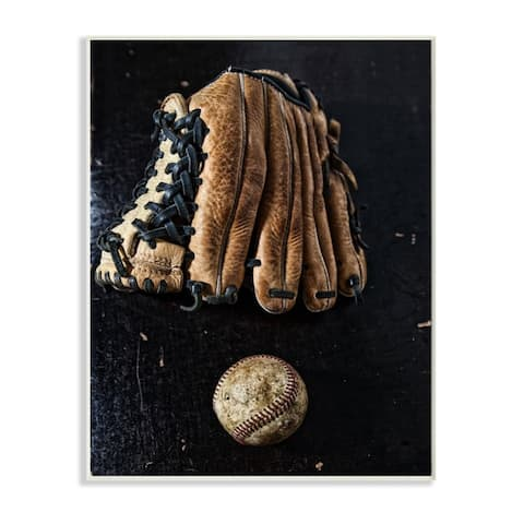 Stupell Industries Distressed Baseball and Glove over Black Wood Wall Art