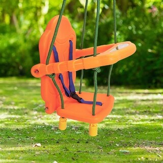 Costway Xmas Gift Kids Toddler Children Swing Seat Chair Outdoor For Backyard Playground w/Rope - Orange