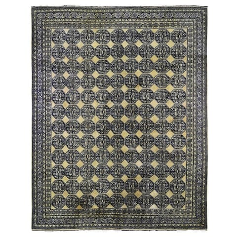 """Shahbanu Rugs Vintage Turkish Hand Knotted Elephant Feet Design Full Pile Clean Yellow Gold Pure Wool Rug (11'3"""" x 14'4"""")"""