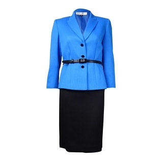 Tahari Women's Johnathan Belted Notched Lapel Woven Skirt Suit