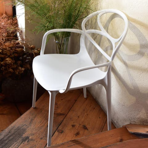 Emile White Acrylic Arm Chair Dining Chair (Set of 2)