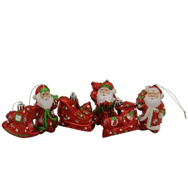 6ct Shiny Red Holiday Themed Glittered Shatterproof Christmas Ornaments