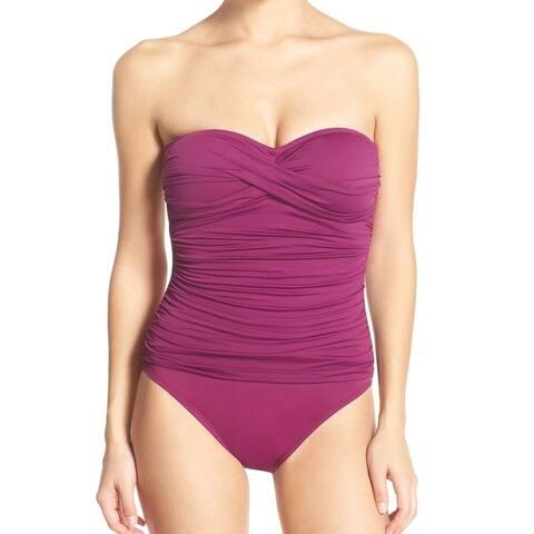 La Blanca Purple Women Size 6 Shirred Convertible One-Piece Swimsuit