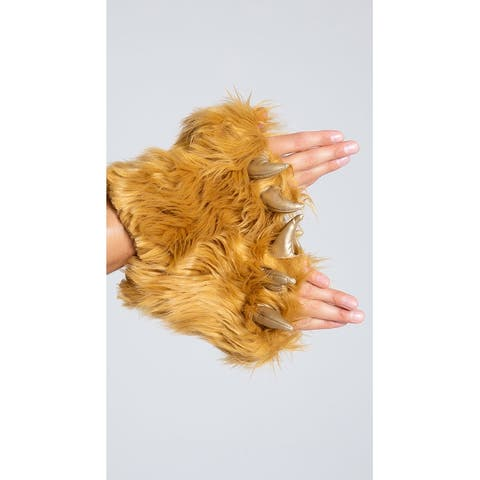 Men's Lion Gloves, Furry Gloves - Brown - One Size Fits Most