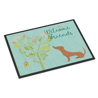 Welcome Friends Red Dachshund Indoor or Outdoor Mat, 18 x 27 in.