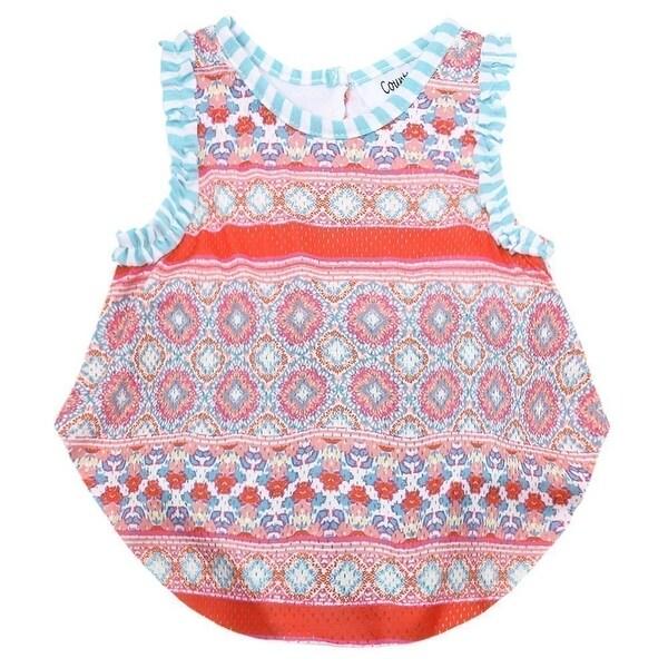 Counting Daisies Baby Girls Orange Kaleidoscope Sleeveless Bodysuit Bodysuit 3M