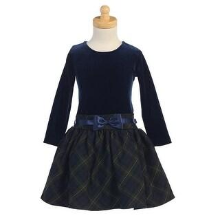 Green Velvet Bodice Plaid Skirt Girls Christmas Dress 5-10