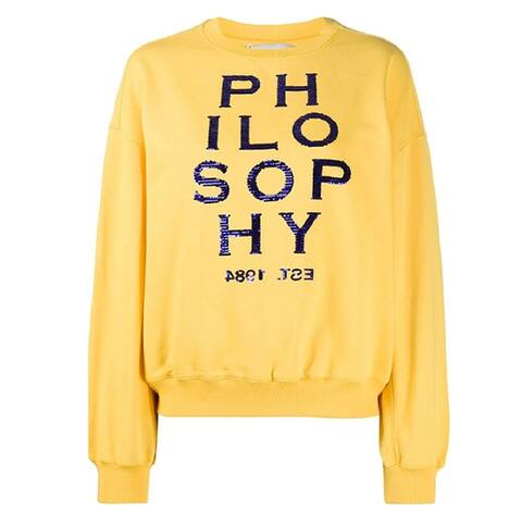 Philosophy di Lorenzo Womens Yellow Logo Sequin Sweatshirt