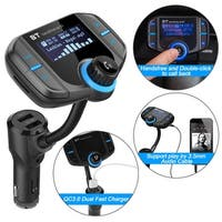 AGPtek Bluetooth 4.2 FM Transmitter Wireless In-Car Radio Adapter QC3.0 Supports 3.5mm Audio Cable & TF Card Play