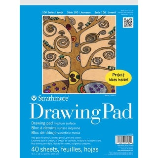 Strathmore Top Tape Binding Kids Drawing Pad, 9 X 12 in, 40 Sheets, White