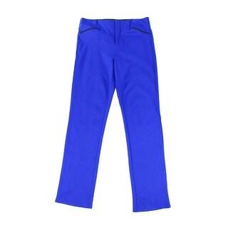 INC NEW Blue Womens Size 0 Faux-Leather Trim Straight Leg Ponte Pants
