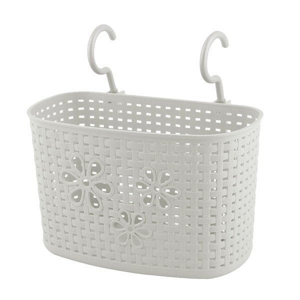 Superb Household Kitchen Plastic Rectangular Hanging Storage Basket Container Gray