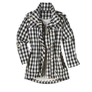Women's Fashion Jacket - Water-Resistant Buffalo Check Anorak