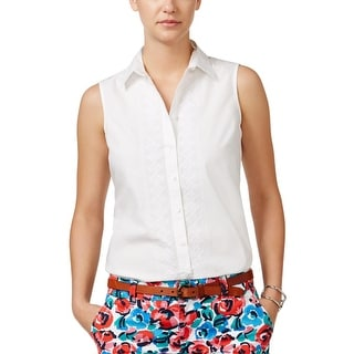 Tommy Hilfiger Womens Button-Down Top Woven Embroidered