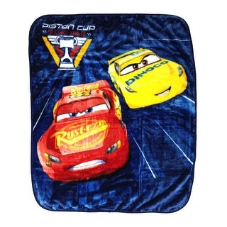 "Baby Boys Blue Cars Lightning McQueen Print Royal Plush Blanket 40"" x 50"" - One size"