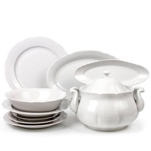 Dulevo Porcelain Appetizing White 29 Piece Fine China Dinnerware Set For 6