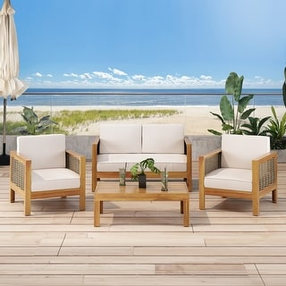 Link to Linwood Acacia Wood 4-seat Chat Set with Wicker Accents by Christopher Knight Home Similar Items in Outdoor Sofas, Chairs & Sectionals