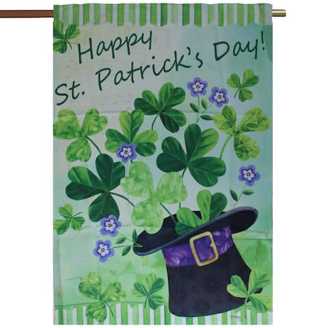 "Green and Purple ""Happy St. Patrick's Day!"" Outdoor Garden Flag 29"" x 43"" - N/A"