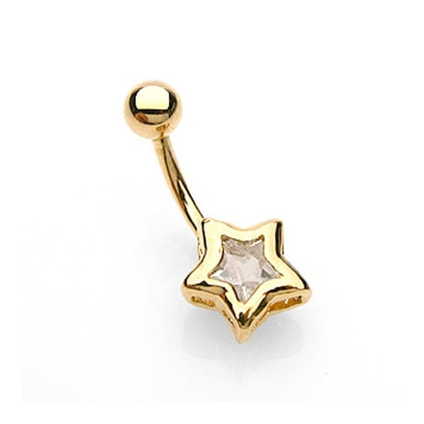 "Navel Belly Button Ring with Gold Plated Star CZ - 14GA - 3/8"" Long"