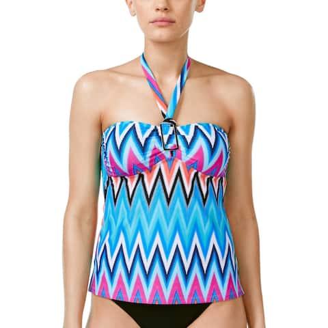 3230e1352ef Island Escape Ladies Chevron Crush Printed Halter Tankini Top 8 Multi  Swimsuit