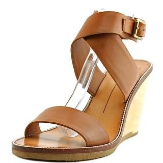 Dolce Vita Havana Women  Open Toe Leather Brown Wedge Sandal