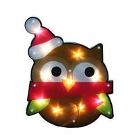 "15"" Lighted Shimmering Owl with Santa Hat Christmas Window Silhouette Decoration - RED"