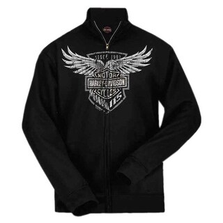 Harley-Davidson Men's 115th Anniversary Eagle Zippered Sweatshirt, Black