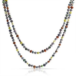 Bling Jewelry Freshwater Cultured Pearl Multicolor .925 Sterling Silver Long Necklace 54 Inches