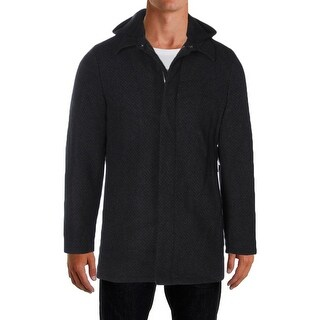 Perry Ellis Mens Pea Coat Wool Removable Hood