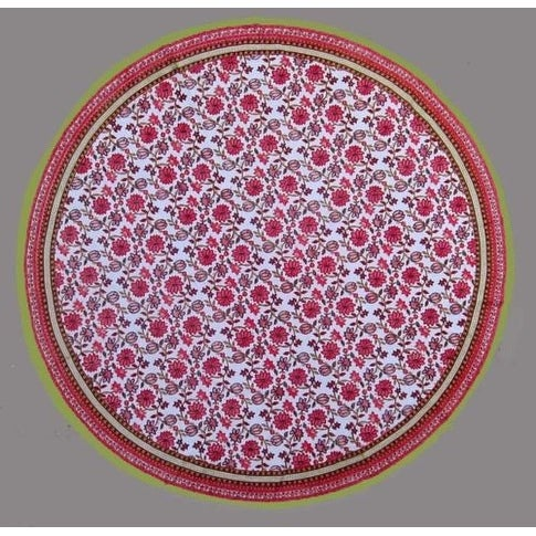 "Handmade 100% Cotton Floral Tablecloth 90"" Round Red Pink"