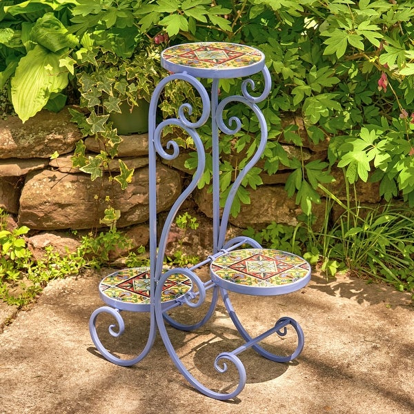 """Set of 2 """"New Orleans"""" Folding Iron Mosaic Plant Stand - Large. Opens flyout."""