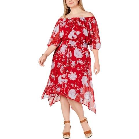 Tommy Hilfiger Womens Plus Midi Dress Floral Tie-Waist - Scarlet