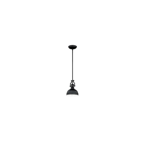 Vaxcel Lighting P0193 Keenan 1-Light Mini Pendant with Black Metal Shade - Oil Rubbed bronze