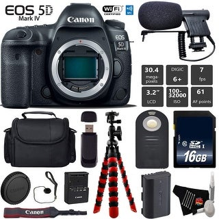 Canon EOS 5D Mark IV DSLR Camera (Body Only) + Tripod + Wireless Remote + Card Reader - Intl Model
