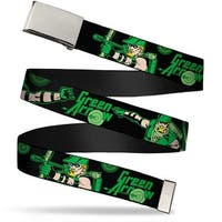 """Blank Chrome 1.0"""" Buckle Green Arrow Action Poses Targets Black Greens Web Belt 1.0"""" Wide - S"""