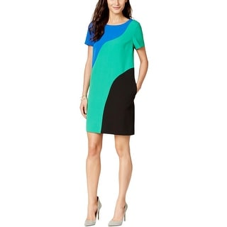 Tahari ASL Womens Amy Casual Dress Colorblock Shift