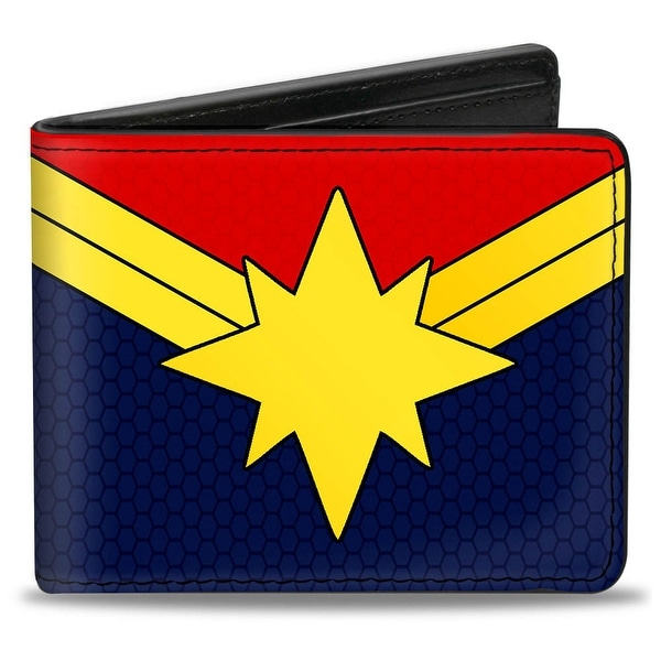 Marvel Universe Captain Marvel Star Logo Red Gold Blue Bi Fold Wallet - One Size Fits most