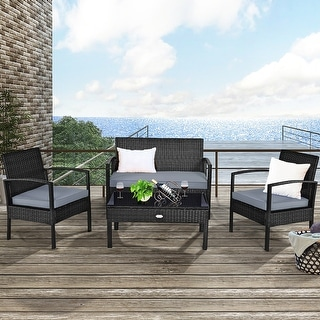 Costway 4PCS Outdoor Patio Rattan Furniture Set Cushioned Sofa Coffee