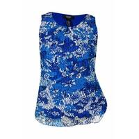 Alfani Women's Floral Print Lace Overlay Sleeveless Top - Blue