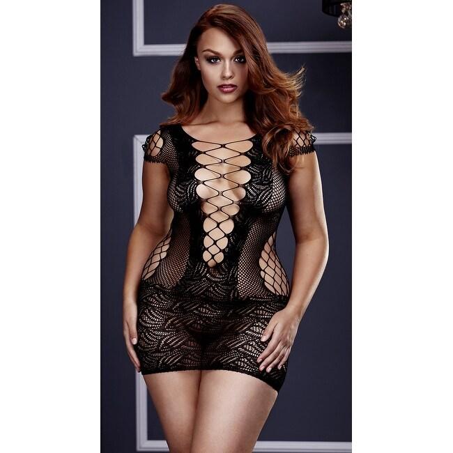 Plus Size Corset Front Fishnet Mini Dress, Plus Size Fishnet Chemise -  Black - Queen Size