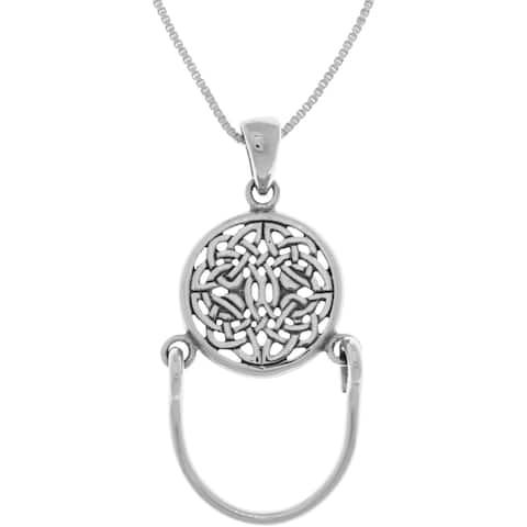 Sterling Silver Round Celtic Knotwork Charm Holder Pendant Necklace