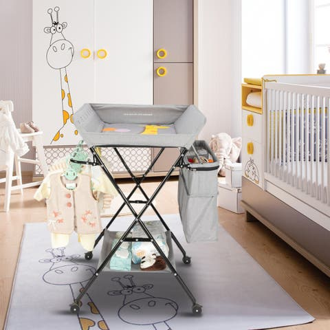 Mobile Baby Changing Table with Wheels Folding Infant Diaper Table