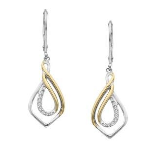 1/2 ct Diamond Earrings in Sterling Silver & 14K Gold