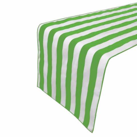 "Premium Cotton Striped Table Runner Green 12'' x 70'' - 12"" x ""70"