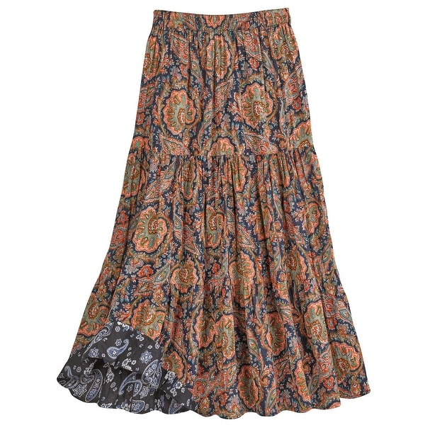 "Catalog Classics Women's Paisley Print Reversible Broomstick Skirt - 36"" Maxi"