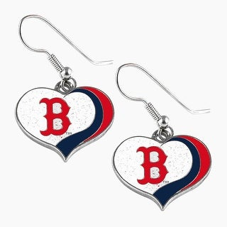Boston Red Sox MLB Glitter Heart Earring Swirl Charm Set