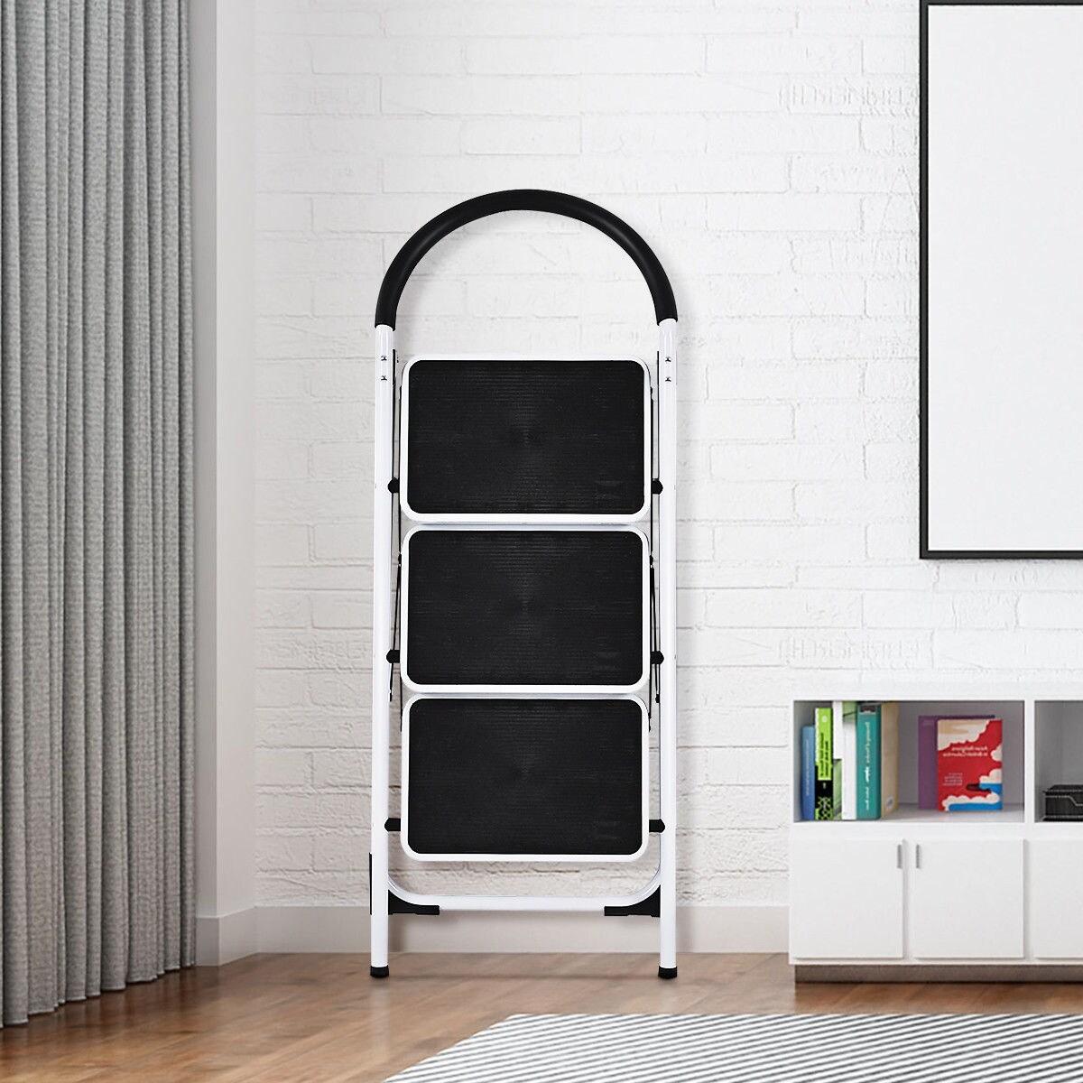 Costway 3 Step Ladder Folding Stool Heavy Duty 330lbs Capacity Industrial Lightweight Black White